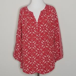 Crown & Ivy Red & White Medallion Print Top 1X
